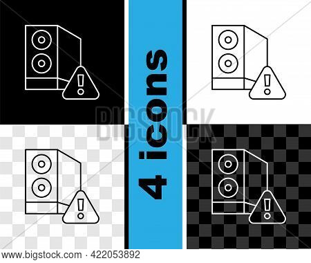 Set Line Case Of Computer With Exclamation Mark Icon Isolated On Black And White, Transparent Backgr