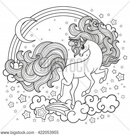 A Cute Unicorn With A Long Mane Gallops Among The Stars. Black And White Linear Drawing. For The Des