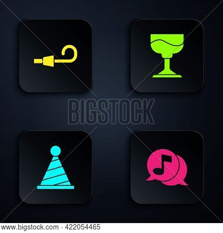Set Musical Note In Speech Bubble, Birthday Party Horn, Party Hat And Cocktail. Black Square Button.