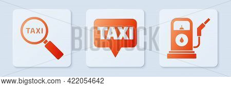 Set Map Pointer With Taxi, Magnifying Glass And Taxi Car And Petrol Or Gas Station. White Square But