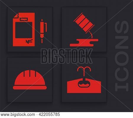 Set Oilfield, Contract Money And Pen, Barrel Oil Leak And Worker Safety Helmet Icon. Vector