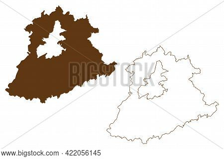 Trier-saarburg District (federal Republic Of Germany, State Of Rhineland-palatinate) Map Vector Illu