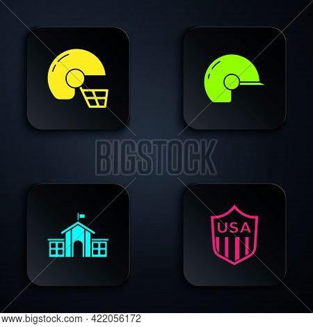 Set Shield With Stars, American Football Helmet, United States Capitol Congress And Baseball. Black