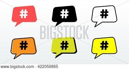 Hashtag, Social Media Icons Set. Hashtag Icon. Hashtag Symbol. Social Media Icon. Vector Illustratio
