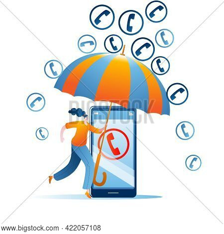 A Girl With An Umbrella Protects Her Mobile Phone From Spam Calls. The Concept Of A Vector Illustrat