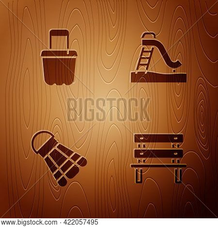 Set Bench, Sand In Bucket, Badminton Shuttlecock And Kid Slide On Wooden Background. Vector