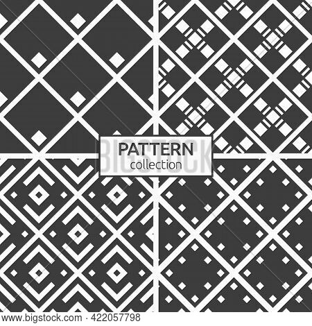 Set Of Four Seamless Patterns. Repeating Rhombuses, Tiles. Geometric Stylish Backgrounds. Modern Sty