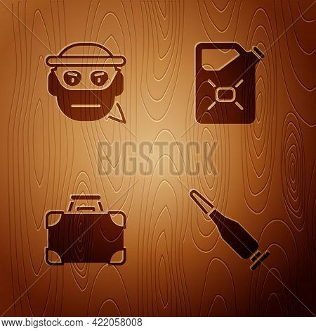 Set Bullet, Bandit, Briefcase Money And Canister Fuel On Wooden Background. Vector