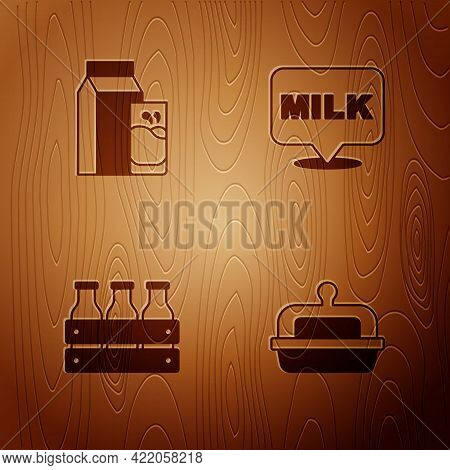 Set Butter In A Butter Dish, Paper Package For Kefir, Bottled Milk Wooden Box And Lettering On Woode