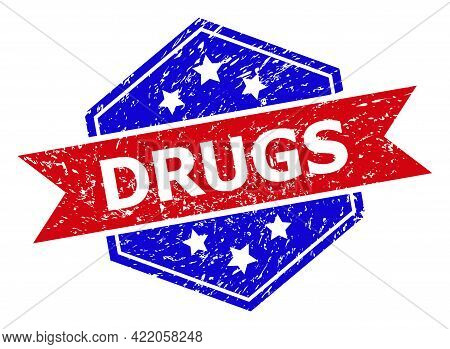 Hexagon Drugs Watermark. Flat Vector Blue And Red Bicolor Textured Seal With Drugs Slogan Inside Hex