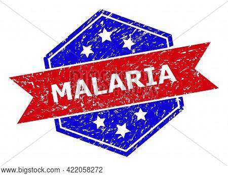 Hexagon Malaria Watermark. Flat Vector Blue And Red Bicolor Grunge Rubber Stamp With Malaria Caption