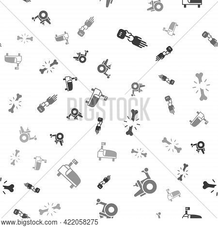 Set Prosthesis Hand, Electric Wheelchair, Human Broken Bone And Hospital Bed On Seamless Pattern. Ve