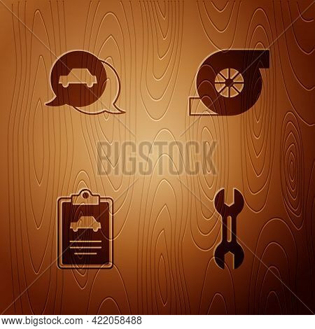 Set Wrench Spanner, Car Service, Inspection And Automotive Turbocharger On Wooden Background. Vector