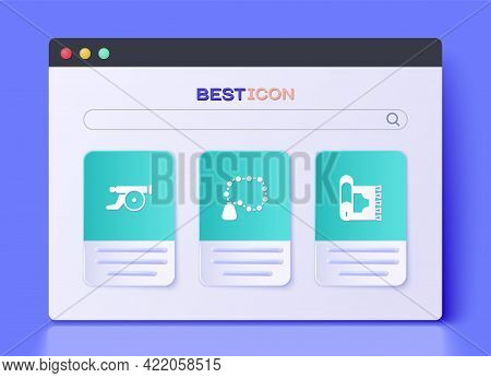 Set Rosary Beads Religion, Ramadan Cannon And Traditional Carpet Icon. Vector