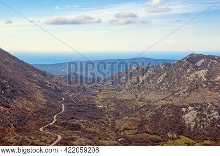 Balkan Road Trip. Beautiful Mountain Landscape. Mountain Range Of Dinaric Alps In Early Spring. Adri