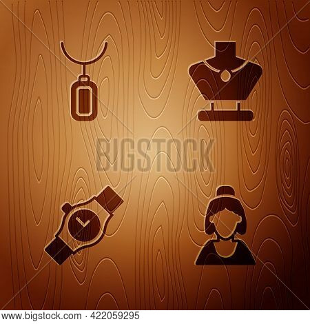 Set Consultant Of Jewelry Store, Pendant Necklace, Wrist Watch And Necklace Mannequin On Wooden Back