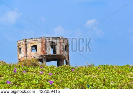 An Old Decrepit Building Faces The Seashore Near The Perupalem Beach Of Indian Ocean.