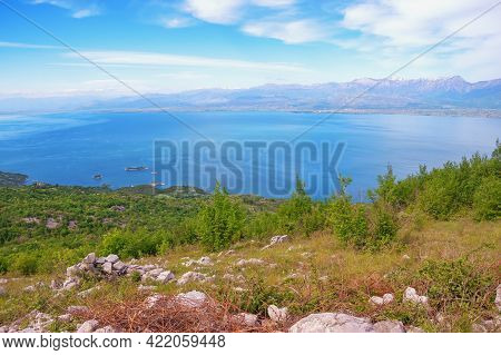 Beautiful Blue Lake Surrounded By Mountains On Sunny Spring Day. Skadar Lake National Park, Monteneg
