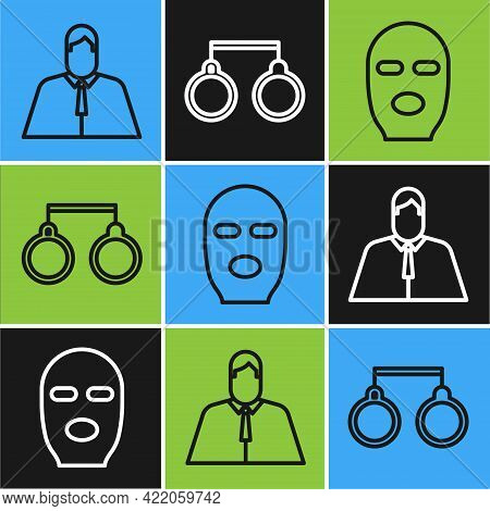 Set Line Lawyer, Attorney, Jurist, Thief Mask And Handcuffs Icon. Vector