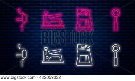 Set Line Construction Stapler, Cement Bag, Hand Drill And Wrench Spanner. Glowing Neon Icon On Brick