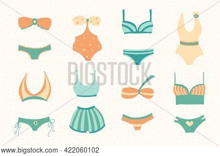 Collection Of Women Swimwear Isolated On A Light Background. Set Of Different Types Of Swimsuits Or
