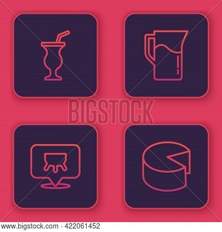Set Line Milkshake, Udder, Jug Or Pitcher And Cheese. Blue Square Button. Vector