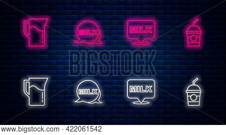 Set Line Lettering Milk, , Milk Jug Or Pitcher And Milkshake. Glowing Neon Icon On Brick Wall. Vecto