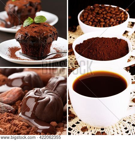 Coffee And Chocolate, Tasty Collage, Coffee Cup. Coffee Cup On The Wooden Background, Hot And Fresh