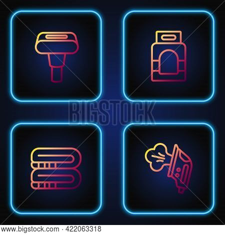 Set Line Electric Iron, Towel Stack, Garment Steamer And Laundry Detergent. Gradient Color Icons. Ve