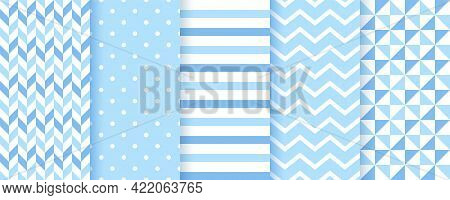 Baby Backgrounds. Blue Seamless Patterns. Baby Boy Geometric Textures. Vector. Set Of Kids Pastel Te