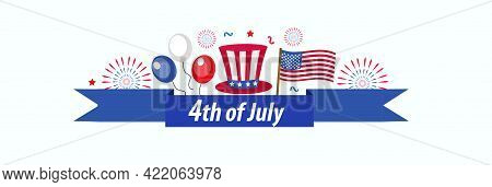 Happy 4th July Banner Poster. American Independence Day Template For Your Design. Vector Illustratio