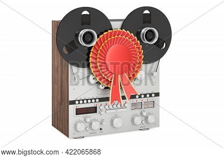 Reel-to-reel Tape Recorder With Best Choice Badge, 3d Rendering Isolated On White Background
