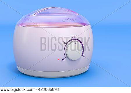 Wax Heater, Electric Wax Warmer  On Blue Background, 3d Rendering