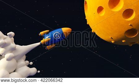 Dash To The Moon. Crypto Rocket 3d Illustration