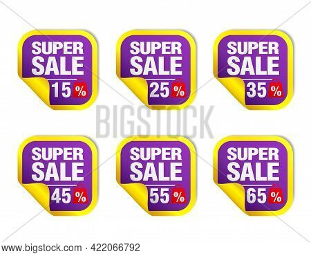 Violet Sale Stickers Set. Sale 15%, 25%, 35%, 45%, 55%, 65% Off With Package Icon. Vector Illustrati