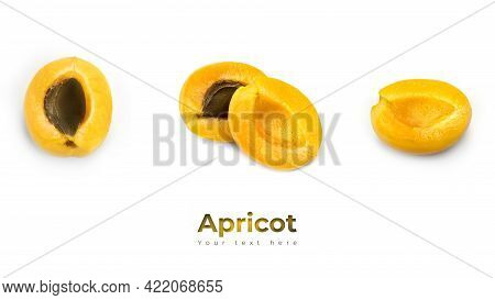 Apricot On A White Background. Slices Of Apricot. Macro Photo.