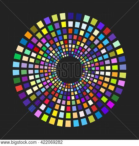 Concentric Dashed Circles. Rectangular Geometric Shapes With Different Colors On The Round Path. Vec