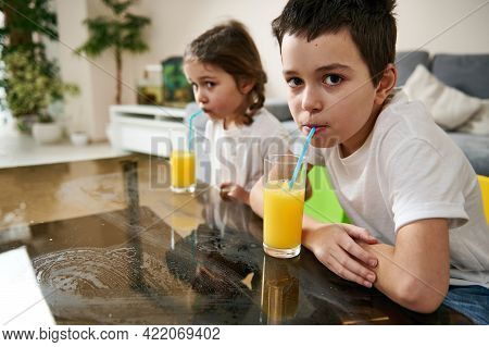 Adorable Children, Brother And Sister Drinking Vitamin Juice, Sitting Next To Each Other At The Tabl
