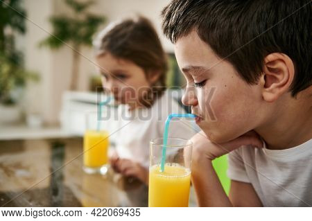 Little Boy Drinking Orange Juice, Sitting At The Table Next To His Adorable Sister Blurred On The Ba