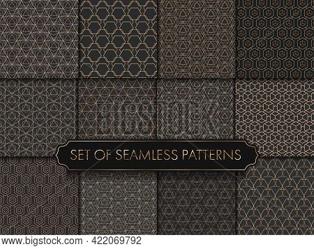 Repeat Simple Graphic Gold Print Pattern. Seamless Linear Vector White Repeat Texture. Seamless Mode