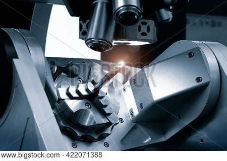 Automatic Drilling Machine With Control Microscope Workpiece, Industrial Concept