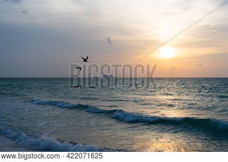 Beautiful Twilight Beach. Early Morning, Sunrise Over Sea. Ocean Sunset On Sea Water With Sunset Sky