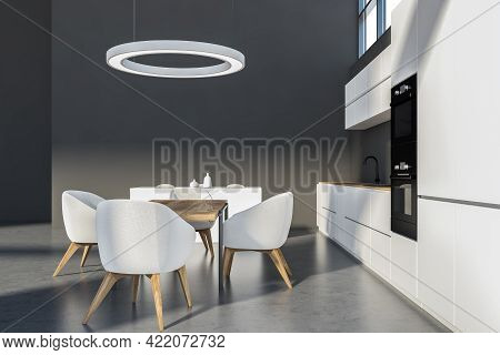 Modern Kitchen Set With Wooden Table And Four White Chairs On Grey Floor. Cupboard With Dishes, Mini