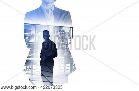 Double Exposure Of Businessman In Suit In Crossed Arms Pose. Silhouettes Of Business Partners Inside