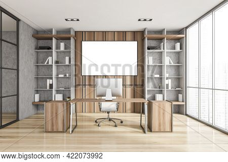 Interior Of Luxury Scandinavian Style Ceo Office With Stone And Wooden Walls, Computer Desk And Two