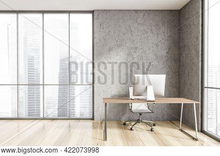 Interior Of Minimalistic Scandinavian Style Ceo Office With Stone Walls, Wooden Floor, Computer Desk