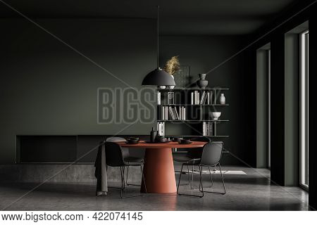 Modern Home Interior With Fireplace, Round Designer Red Table, Concrete Floor, Panoramic Windows. Em