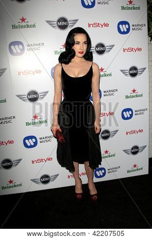 LOS ANGELES - FEB 10:  Dita VonTeese arrives at the Warner Music Group post Grammy party at the Chateau Marmont  on February 10, 2013 in Los Angeles, CA..