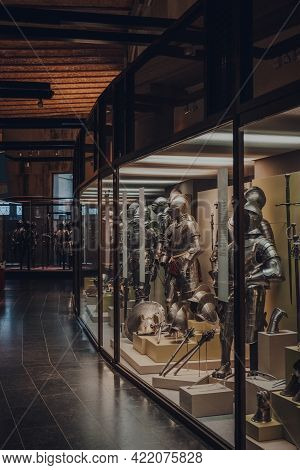Brussels, Belgium - August 17, 2019: Armour Exhibit In The Gallery Of The Royal Museum Of The Armed