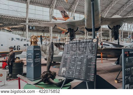 Brussels, Belgium - August 17, 2019: Squadron Operations Board Among Other Exhibits Inside The Royal